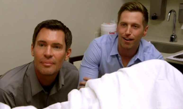 Jeff and Gage hearing their baby's heartbeat for the first time on Flipping Out