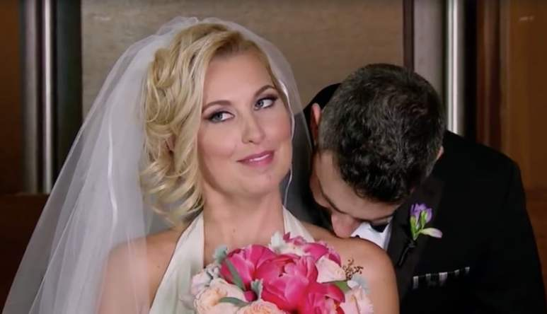 Heather has her neck nibbled by Derek moments after thepair wed on Married At First Sight