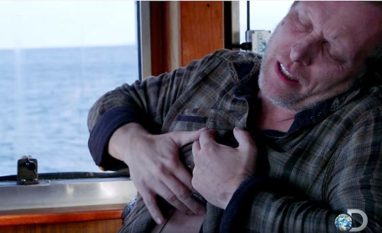 Sig in the middle of his horrifying heart attack in the season finale of Deadliest Catch
