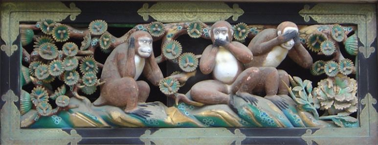 three wise monkeys carved at the Tōshō-gū shrine in Japan