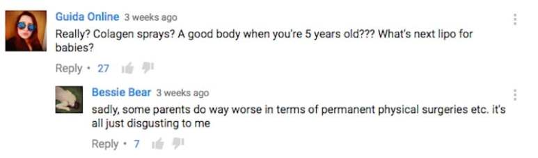 Some comments about Toddlers & Tiaras on YouTube