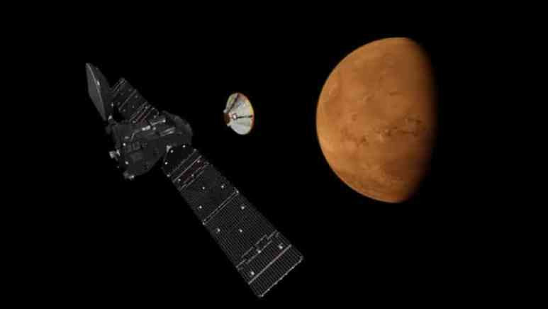 An artist's impression of the separation of the ExoMars orbiter and the landing demonstrator module, named Schiaparelli