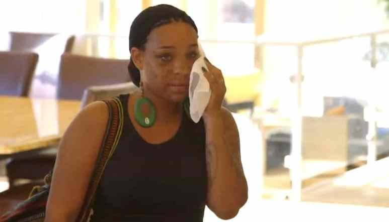 A visibly bruised Briana talks about her domestic abuse incident on Growing Up Hip Hop