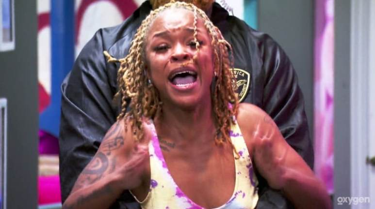 Brynesha has to be restrained as she flips out on the season finale of Bad Girls Club
