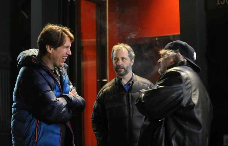 Pete Holmes, Artie Lange and Judd Apatow on set of Crashing Pic credit: HBO