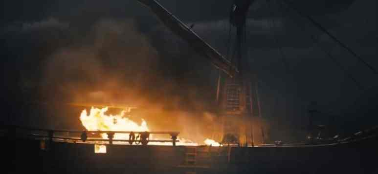 A ship burns as talk turns to action