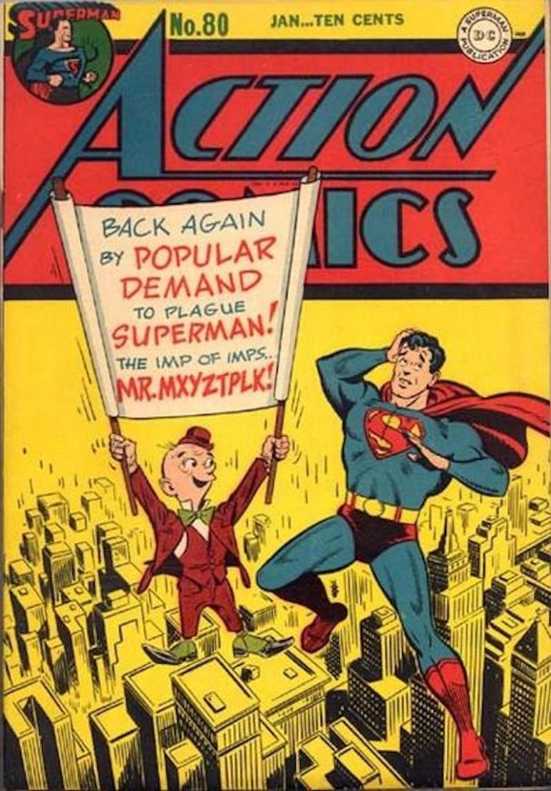 Mr. Mxyzptlk and Superman on the cover of Action Comics #80 from January 1945