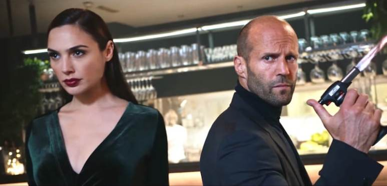 Gal Gadot and Jason Statham in the Wix.com Super Bowl 2017 commercial