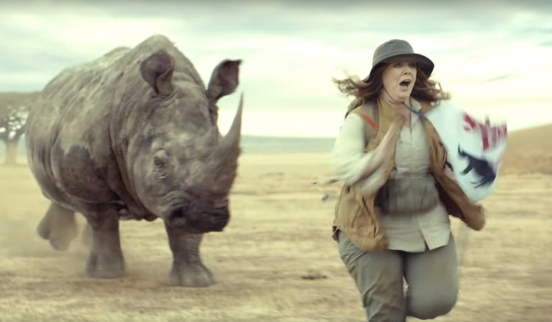 Melissa McCarthy being chased by a rhino in the 2017 Kia Niro Super Bowl commercial