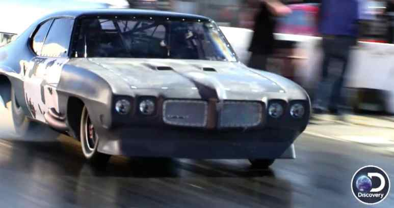 Big Chief's 1970 Pontiac GTO during one of the Fast N' Loud vs. Street Outlaws Mega Race drag races