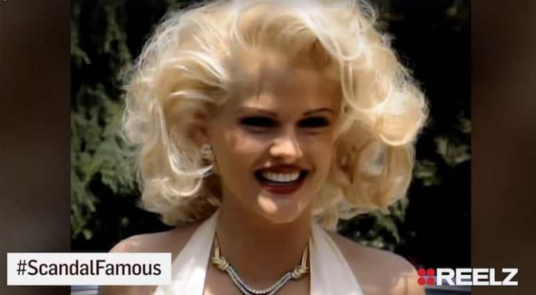 Anna Nicole Smith in a still from REELZChannel's Scandal Made Me Famous