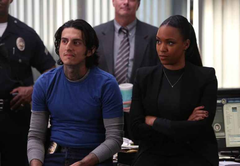 Richard Cabral with Michelle Mitchenor in Lethal Weapon