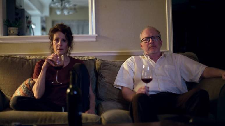 Debra Winger as Mary and Tracy Letts as Michael in The Lovers