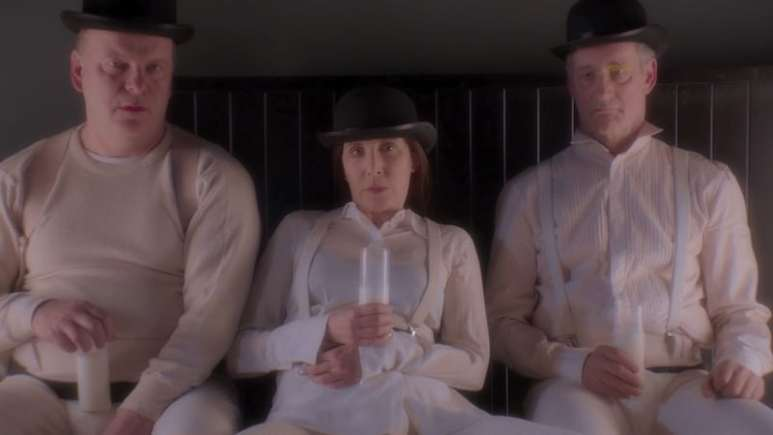 Robert Clohessy as Frank, Laurie Simmons as Ellie, John Rothman as John, all portraying characters from A Clockwork Orange in My Art
