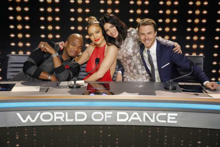 Ne-Yo, Jennifer Lopez, Jenna Dewan Tatum, and Derek Hough posing for a promotional picture for World of Dance