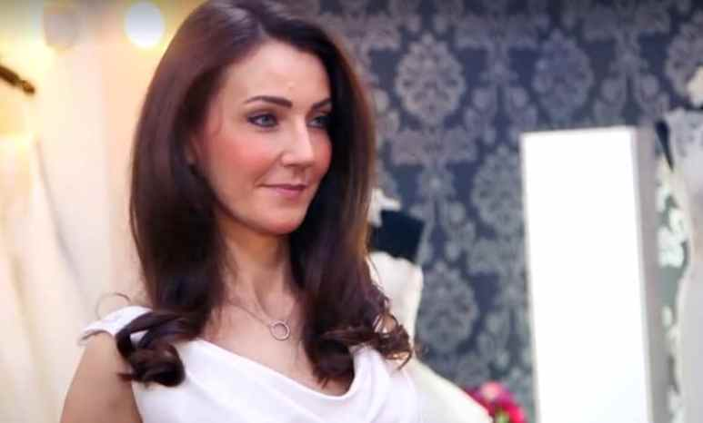 Kate Middleton lookalike Heidi Agan trying on a dress on Say Yes to the Dress: UK on TLC