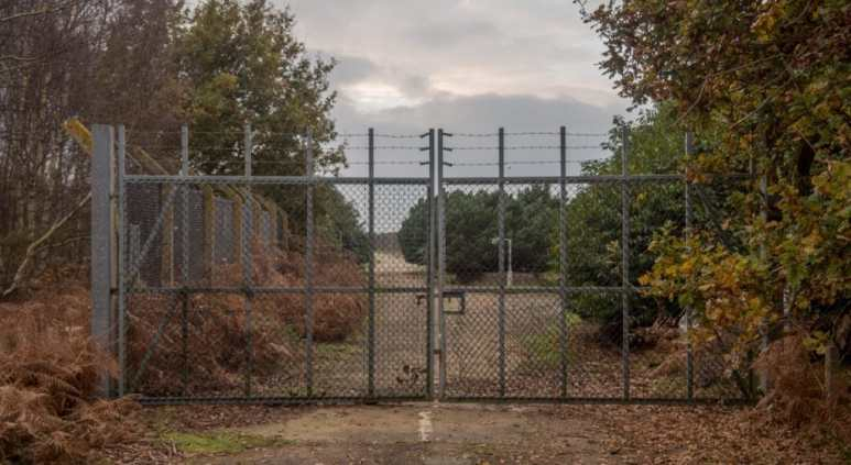 The gate at RAF Woodbridge, where the Rendlesham Forest incident started and UFO sightings reported