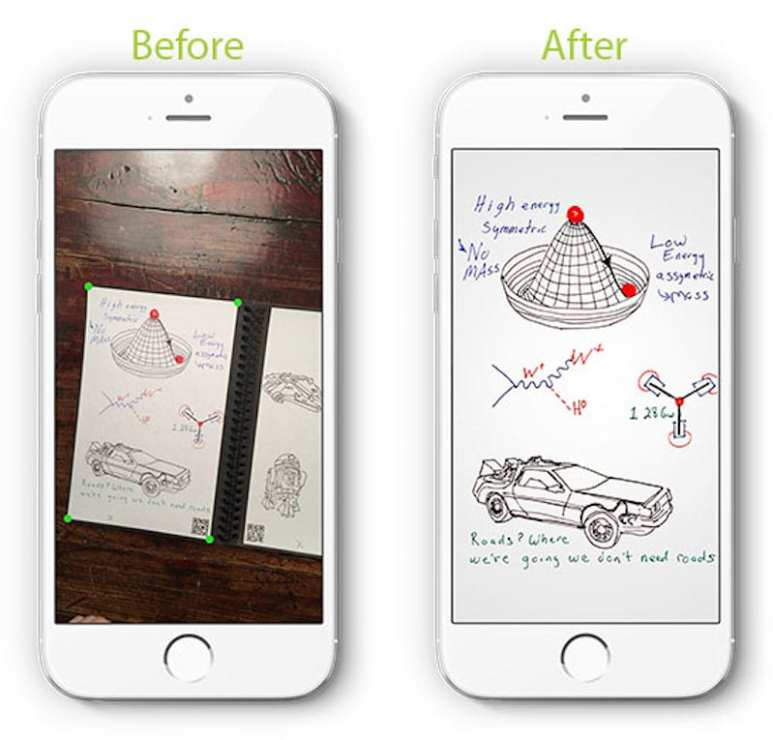 An image showing how the app captures and crops your notes, before storing them in the cloud