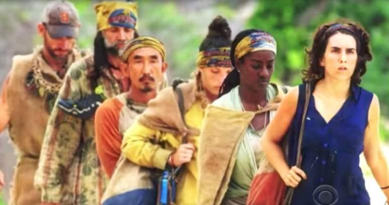 Image of the final six contestants walking towards the camera on the Survivor: Game Changers season finale