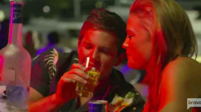 Wes and Malia enjoying drinks at a bar on Below Deck Mediterranean