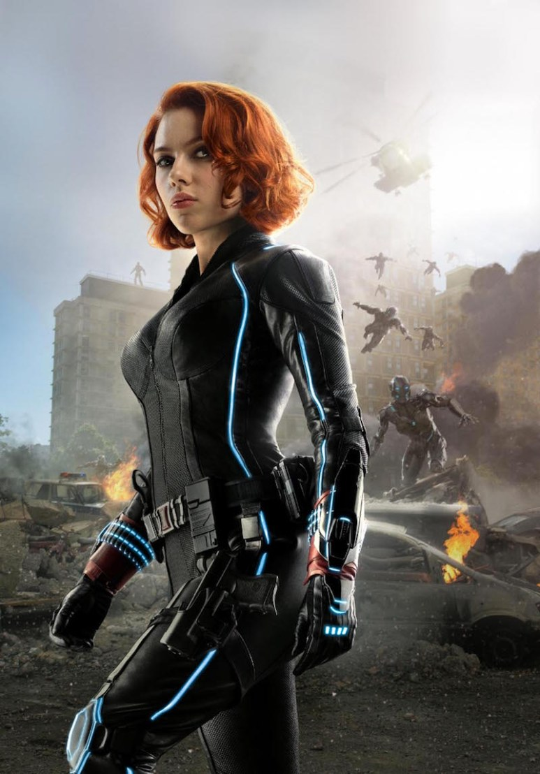 Johansson wearing her black catsuit in a promotional picture for Captain America: Civil War