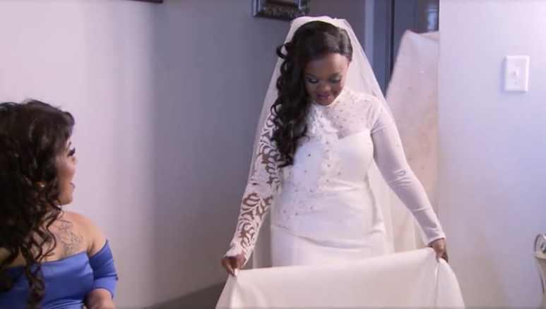 Monie in her wedding dress