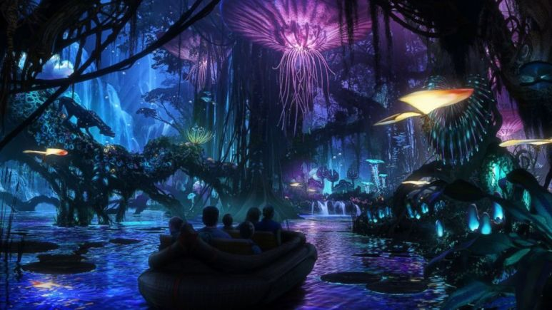 People in a boat on The Pandora - The World of Avatar ride at Disney's Animal Kingdom