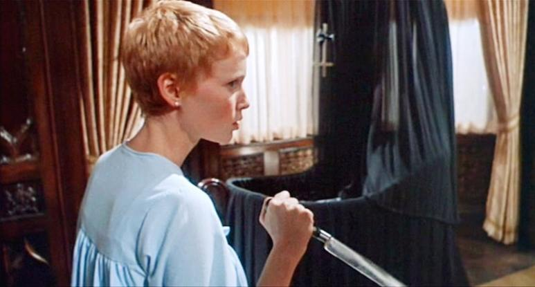 Rosemary holds up a knife in Rosemary's Baby