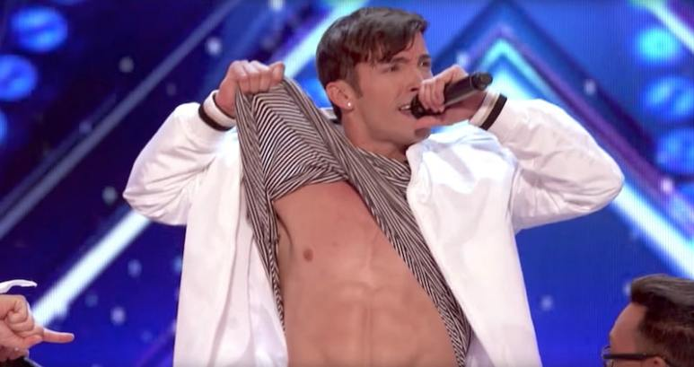 5 Alive's Jordan lifts his top during a routine on America's Got Talent