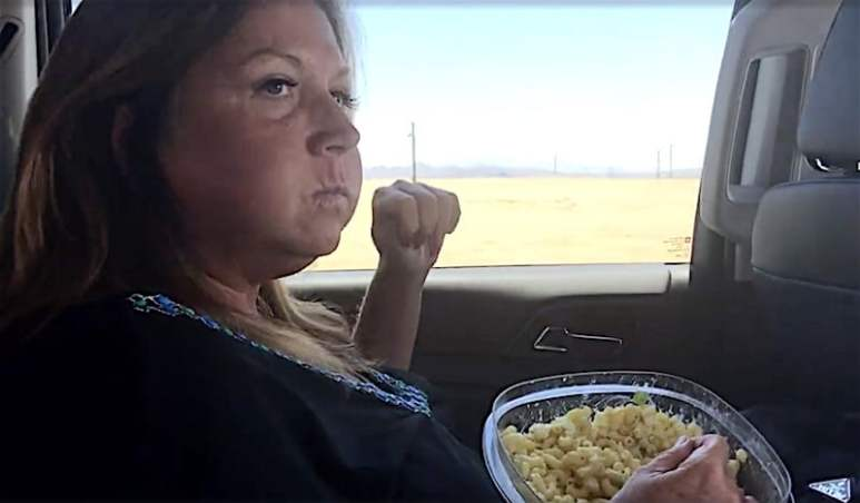 Abby Lee Miller eating in a car before going to prison on the Dance Moms: Abby Tells All special
