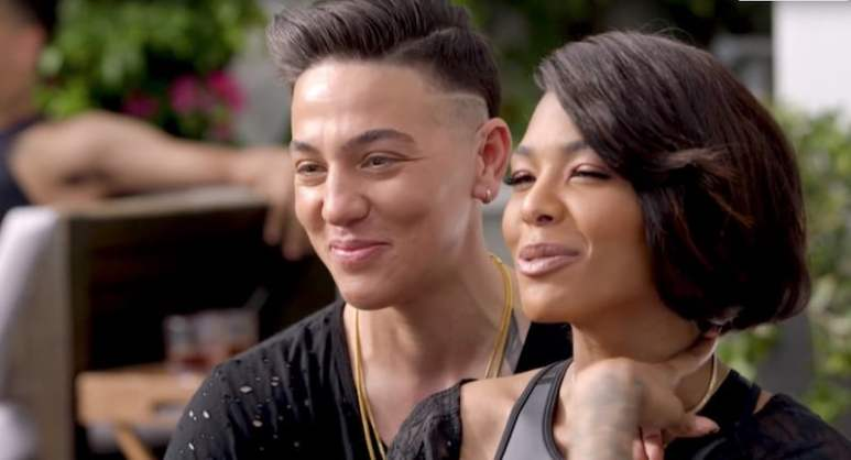 AD Diggs sitting behind Moniece Slaughter on the Love & Hip Hop: Hollywood Season 3 premiere
