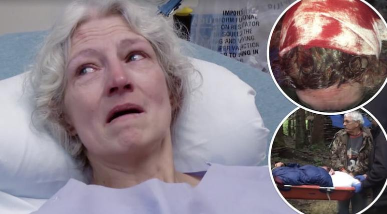 Ami Brown in hosptial and two insets, one of Matt's head in a bandage and another of him being taken away on a gurney on Alaskan Bush People