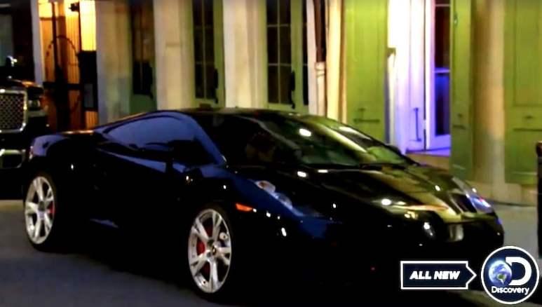 A black Lamborghini outside a bar on Street Outlaws: New Orleans
