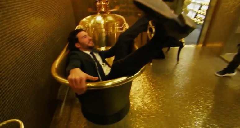 Steve Gold falls into a huge gold bath