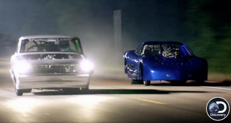 Two cars racing on Street Outlaws: New Orleans