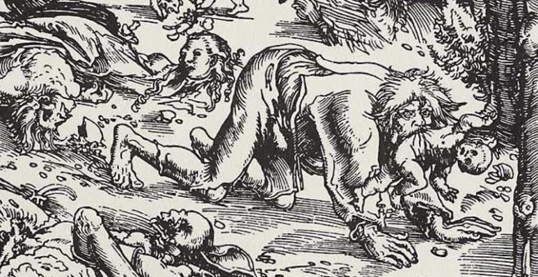 Early drawing of woodcut of a werewolf featuring a man with big teeth on all fours with a child in his mouth