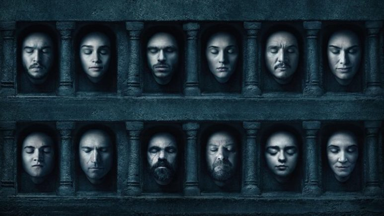 A photo of the key characters from the Game of Thrones series.