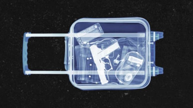 Image showing X-ray of a suitcase with a gun inside it