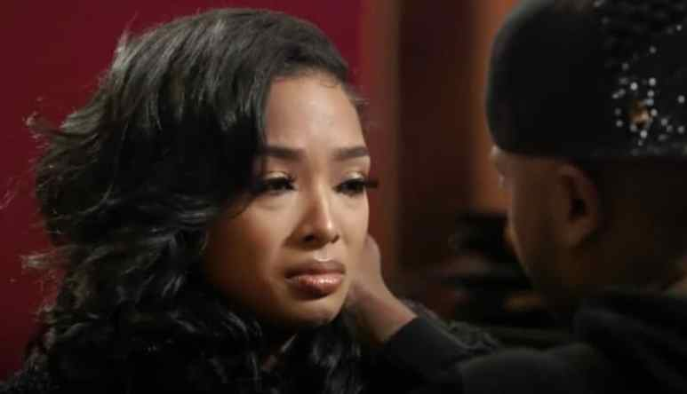 Princess Love crying as she talks to Ray J on Love & Hip Hop Hollywood