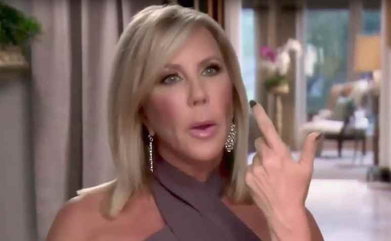 Vicki Gunvalson speaks to the camera on The Real Housewives of Orange County