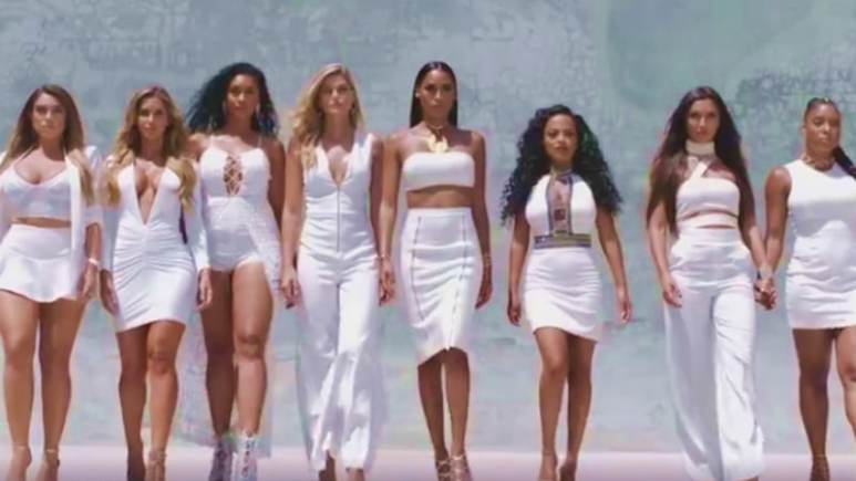 WAGS Miami women lined up all dressed in white as season 2 starts