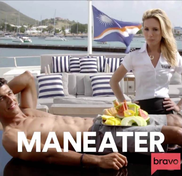 Kate Chastain eats fruit of Bruno Duarte, who has his top off