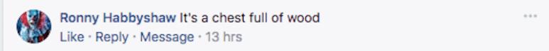 Curse of Oak Island Facebook comment