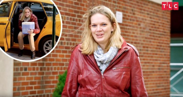 Katja on My Giant Life and, inset, getting out a NYC cab with a box of sperm