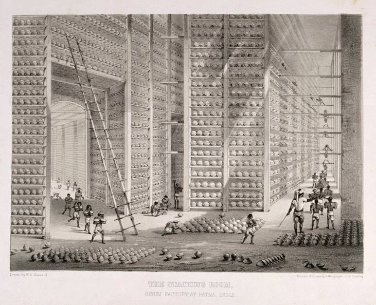 An opium factory in India