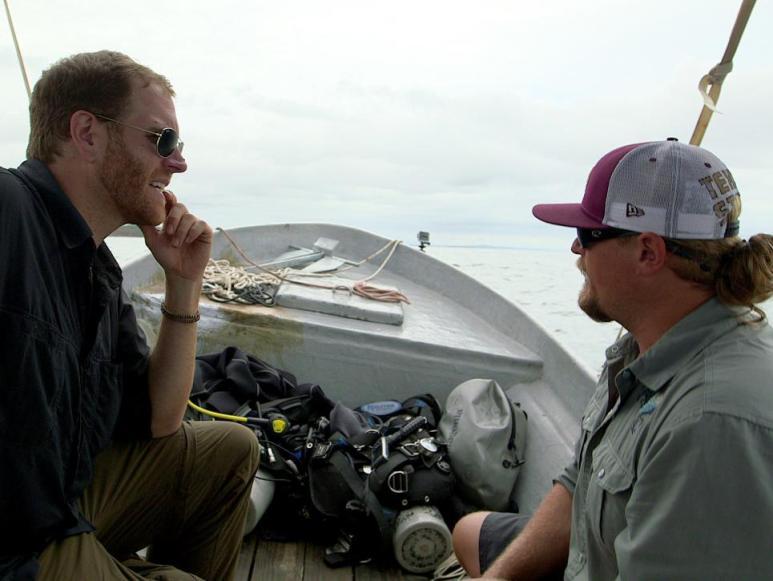 Josh and underwater archaeologist Fritz Hanselmann