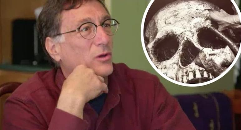 Marty Lagina and a skull shown on The Curse of Oak Island
