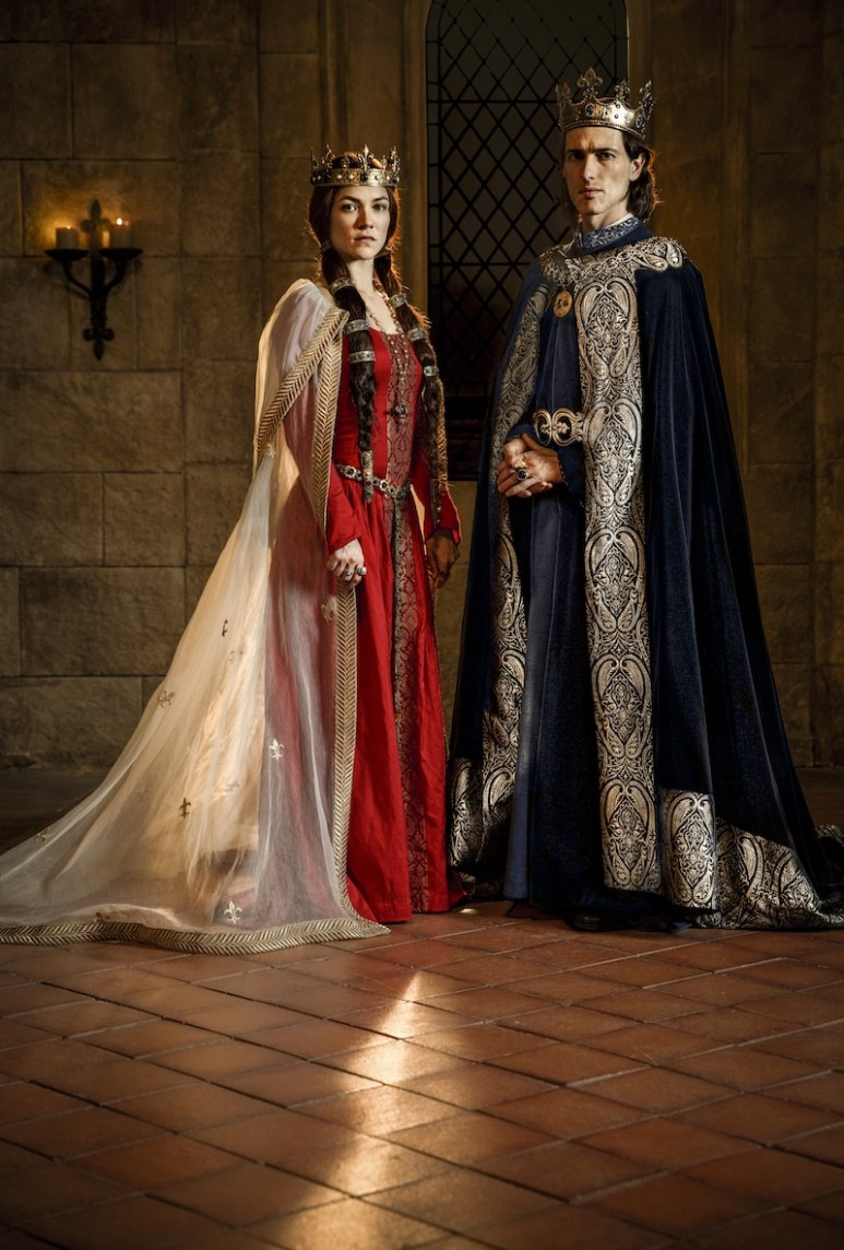 Queen Joan of Navarre (Olivia Ross) and King Philip IV of France (Ed Stoppard) from HISTORY's New Drama Series Knightfall.