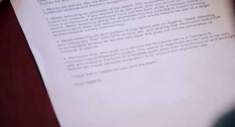 The letter on The Curse of Oak Island