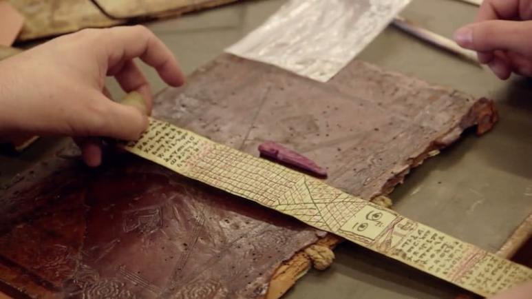 H-8 wood and ancient Egyptian scroll